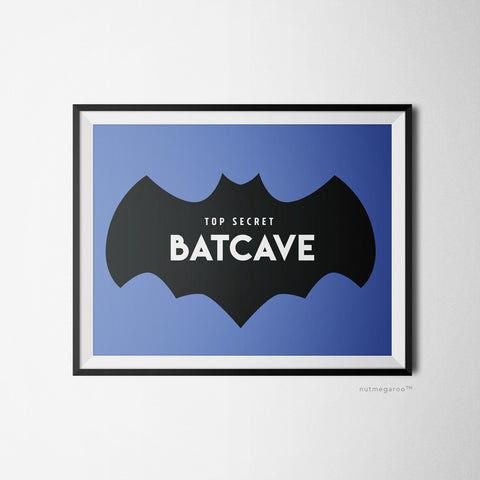 Top Secret Batcave Sign, Batman boys wall art, batman birthday party decor