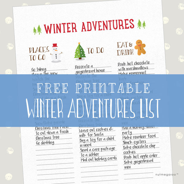 Winter Bucket List - Free Printable