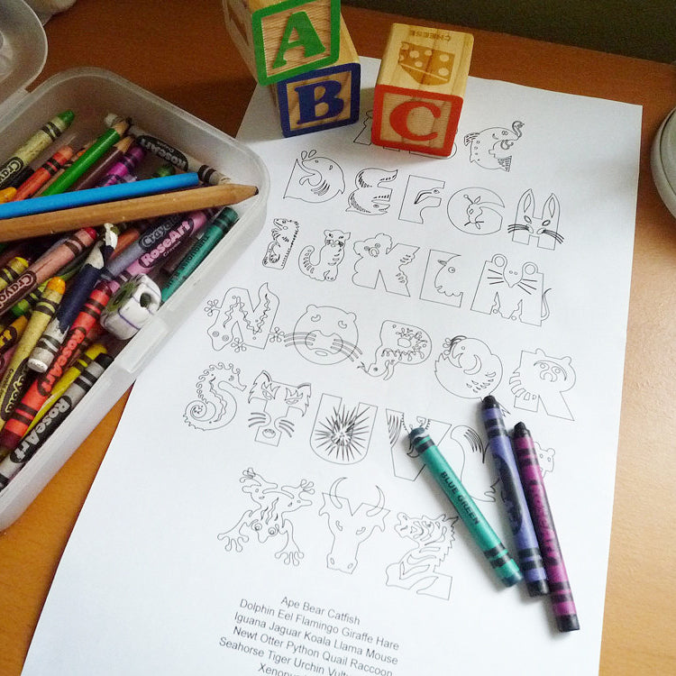 Animal Alphabet Coloring Sheet - Free Printable