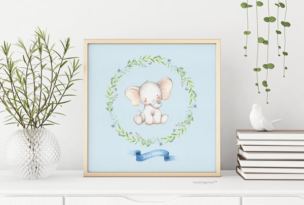 Elephant Nursery Art, Personalized Nursery Art, Nursery Name Art