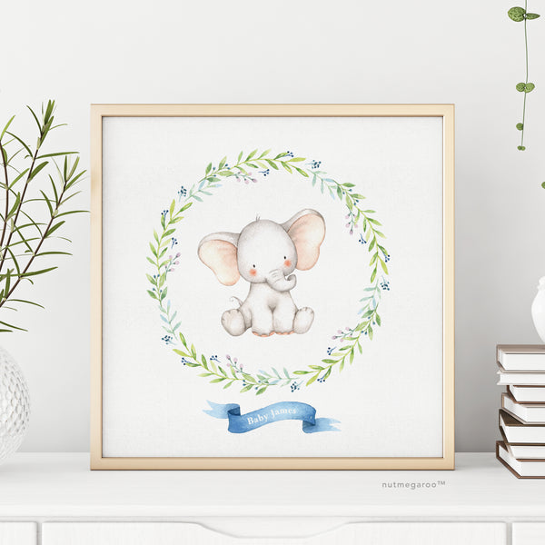 Elephant Nursery Art, Personalized Nursery Art, Name Art