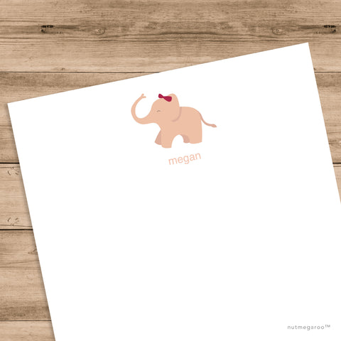 baby pink elephant stationery, girls stationery, printable stationery for kids
