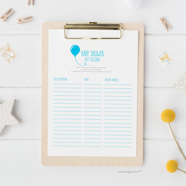 Baby Shower Gift Record Printable