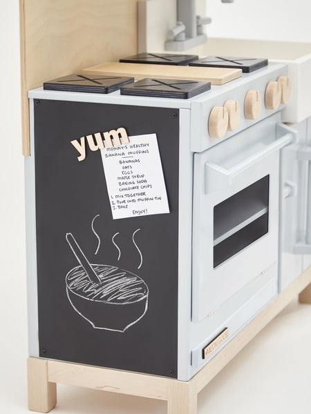luxury wood play kitchen with chalkboard