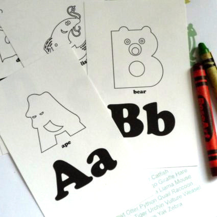 Printable Coloring Animal Alphabet Flash Cards