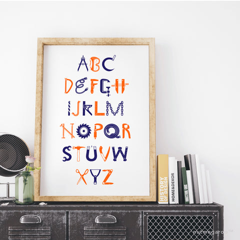 construction abc alphabet nursery art print for boys in orange and navy blue