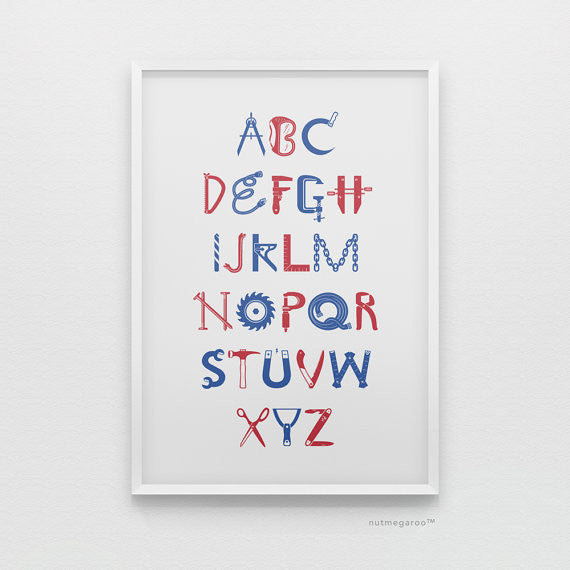 construction alphabet nursery art print for boys in blue and red