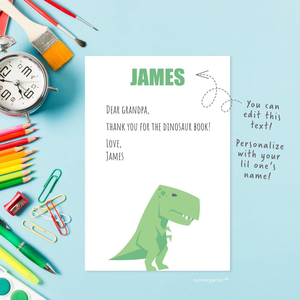 Dinosaur Thank you Notes, personalized stationery for boys