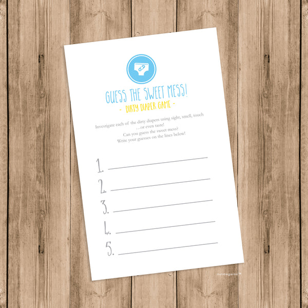 Dirty Diaper Baby Shower Game Printable, Baby Shower Diaper Game