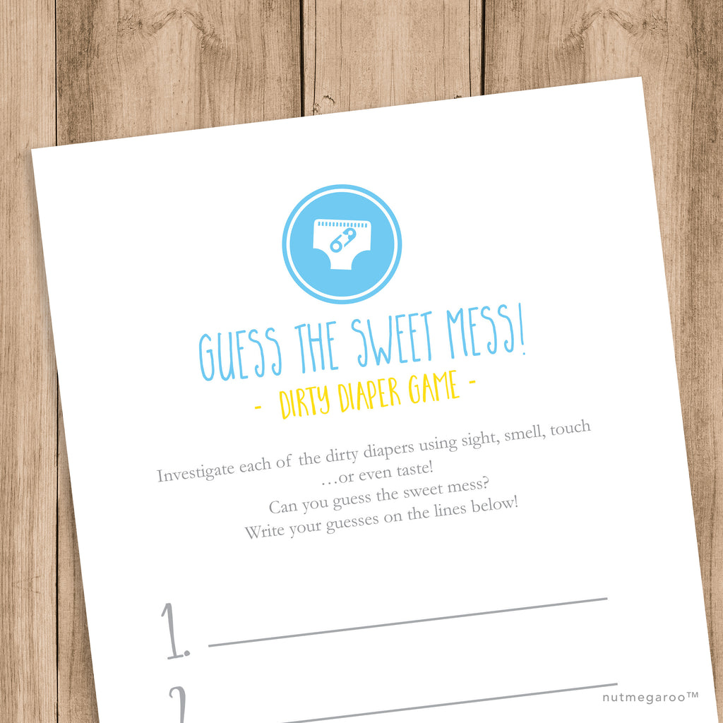 Dirty Diaper Baby Shower Game Printable Nutmegaroo