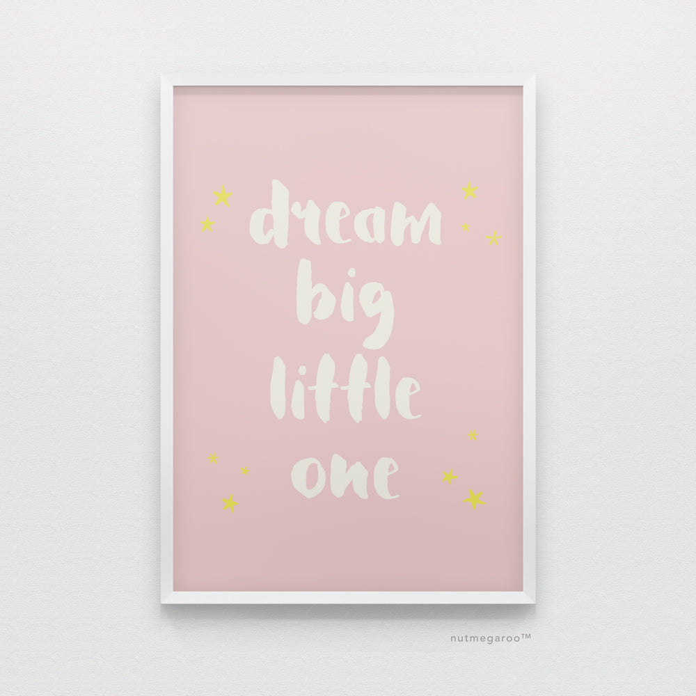 dream big little one pink nursery art printable, baby girl nursery art printable, dream big nursery art