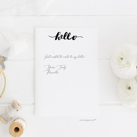 Hello Stationery, Printable Stationery