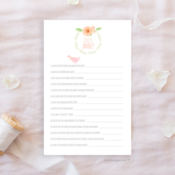 How well do you know the bride, Printable Bridal Shower Game