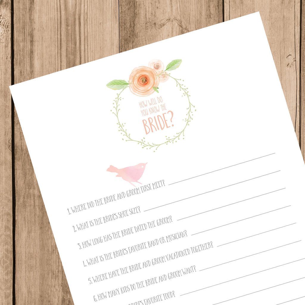 How Well Do You Know The Bride? Printable Bridal Shower