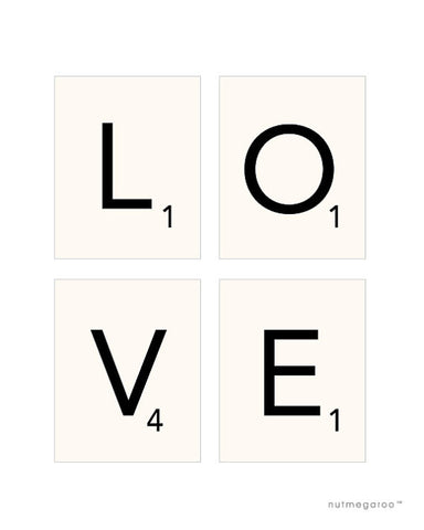 Scrabble LOVE art print collection