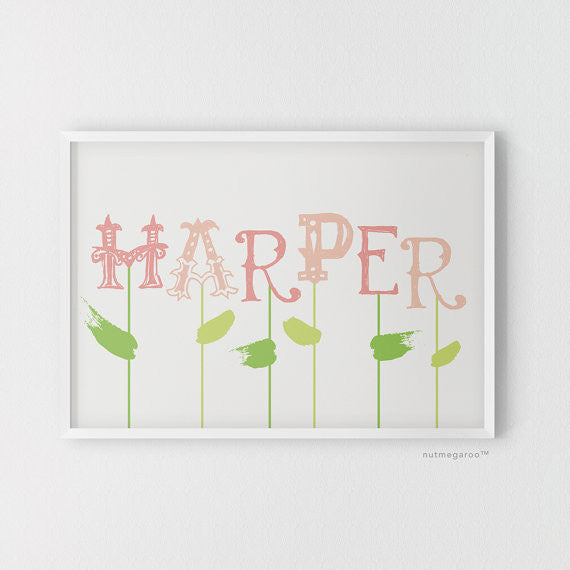floral nursery art, personalized name art, nursery art, nursery art for girls in pink