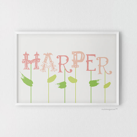 spring blooms personalized name nursery art print for girls in pink