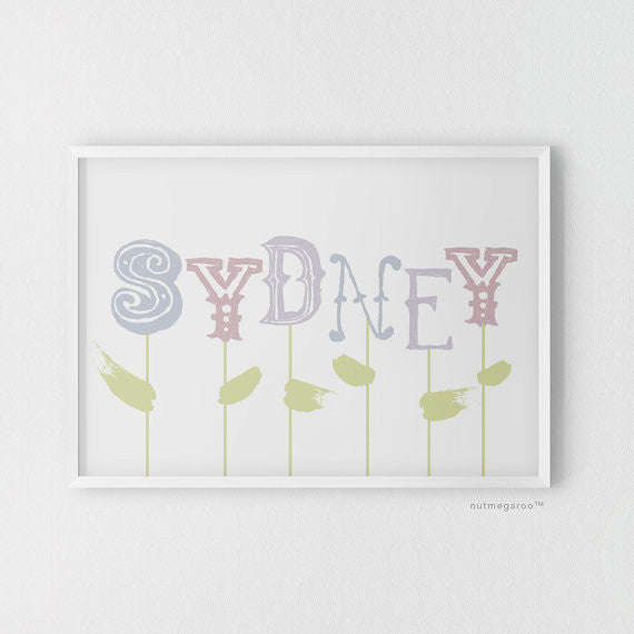 spring blooms personalized name nursery art print for girls in pastel purples