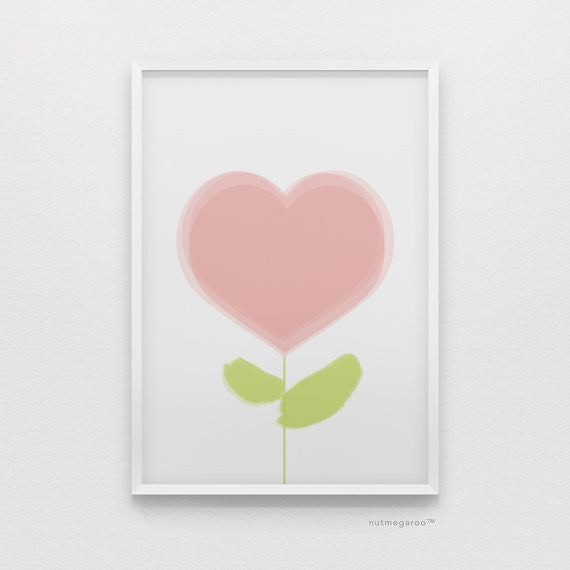 Pink Heart blossom baby girl nursery art print, girls nursery wall art decor