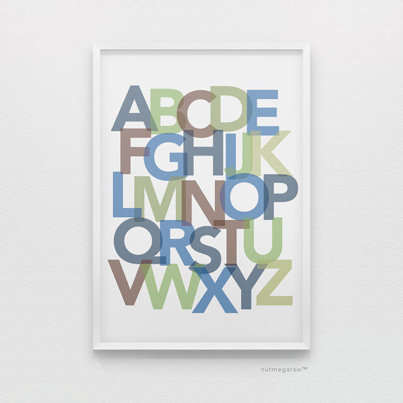 Alphabet art in navy blue, green, brown, blue, abc nursery art blue and green,