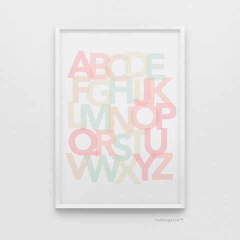 Alphabet art in coral & mint, alphabet art, coral and mint nursery art, peach nursery art, coral nursery art, alphabet poster, abc wall art