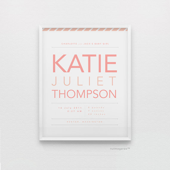 birth stats personalized nursery art print for baby girls