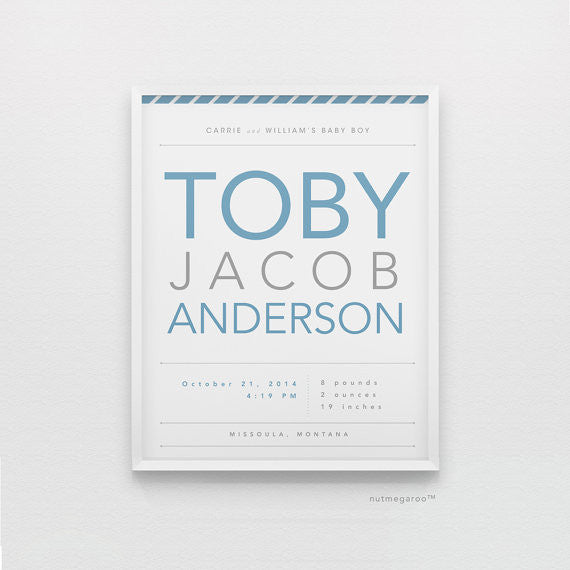 birth stats personalized nursery art print for baby boy