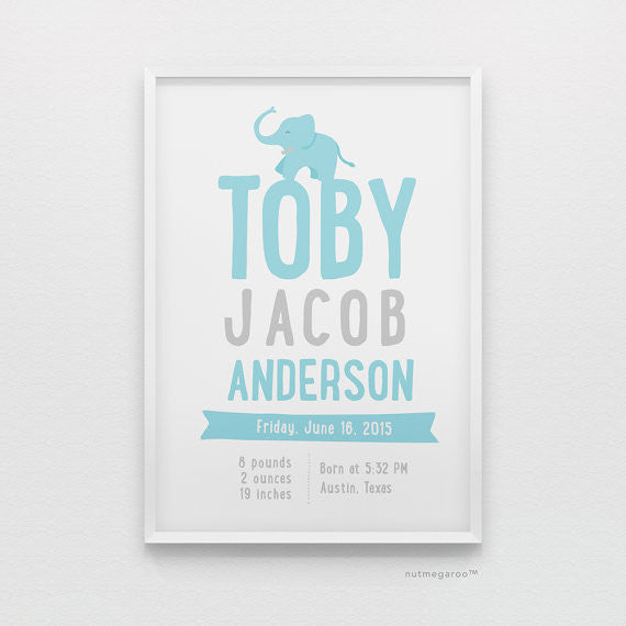 Elephant Birth Stats Personalized Baby Boy Nursery Art Print