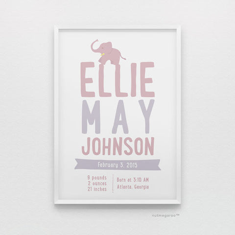 Elephant Birth Stats Personalized Baby Girl Nursery Art Print