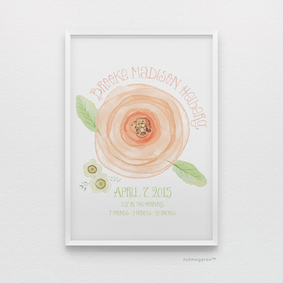 Rose birth stats personalized nursery art print for baby girls