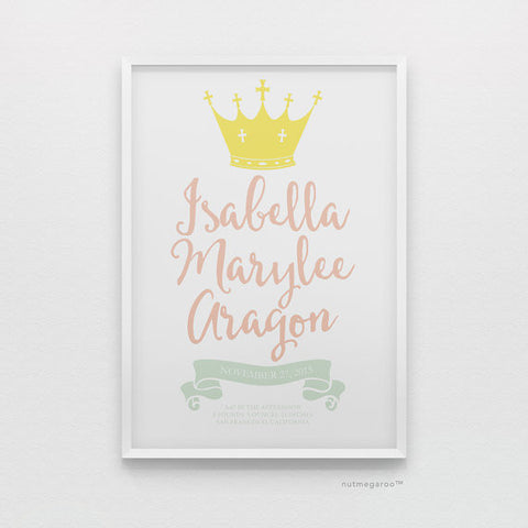 princess birth stats nursery art print