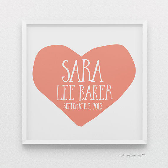 Coral Heart Personalized Baby Girl Nursery Art Print