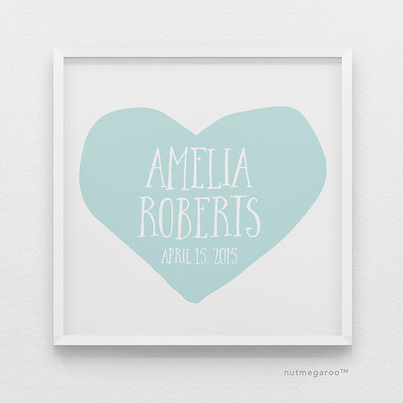 Sky Blue Heart Personalized Baby Girl Nursery Art Print