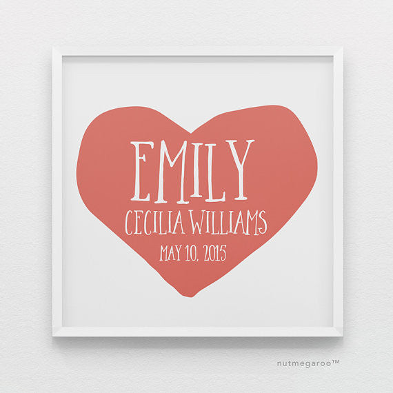 Persimmon Heart Personalized Baby Girl Nursery Art Print