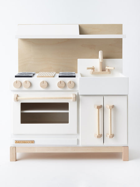 luxury wood play kitchen in white