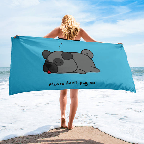 black pug beach towel