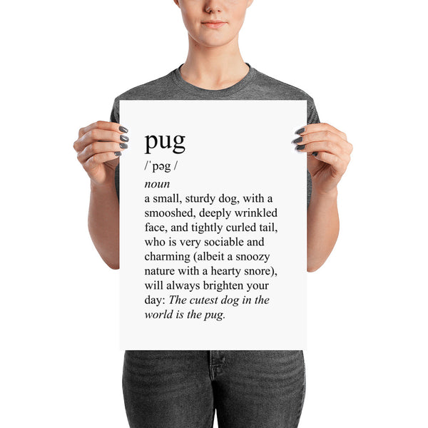 Definition of a pug art poster