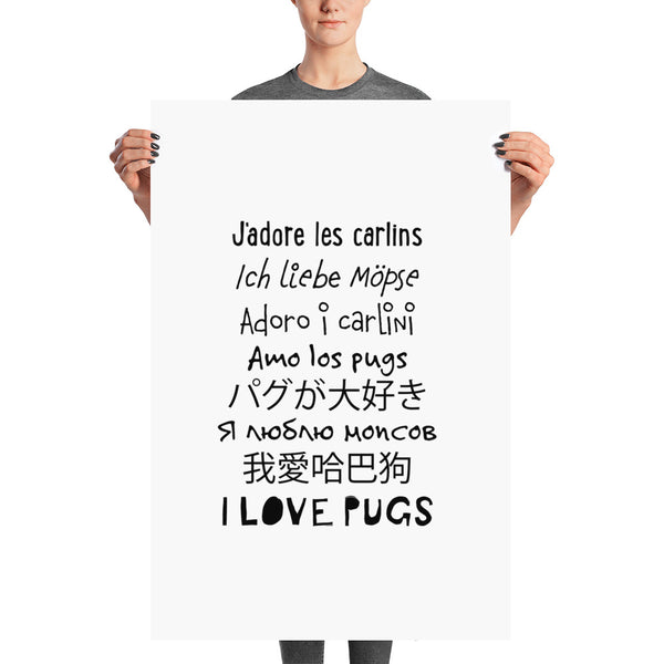 I love pugs in worldwide languages art
