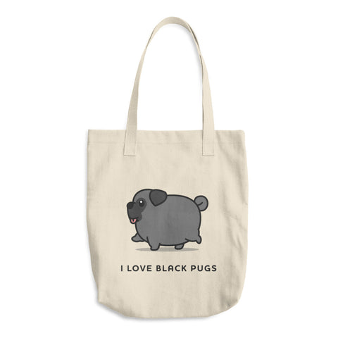 I love black pugs tote bag, I love black pugs grocery bag