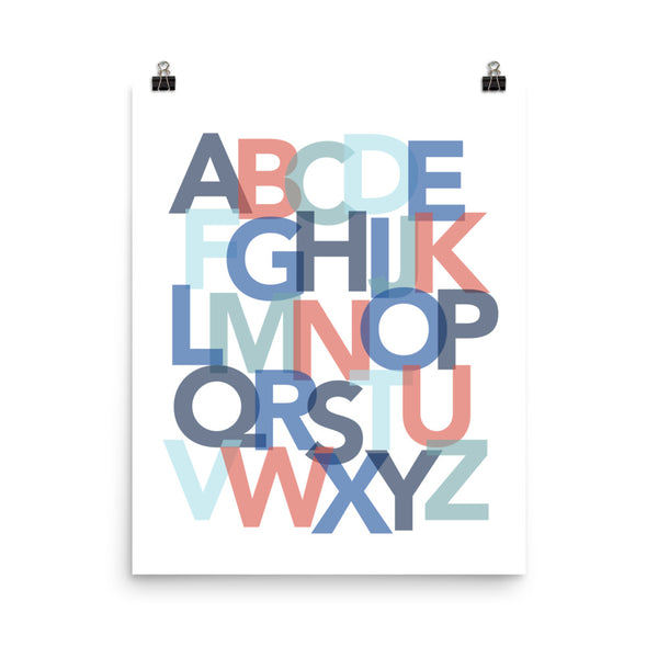 red and blue children's alphabet poster, kids alphabet poster, red and blue nursery art