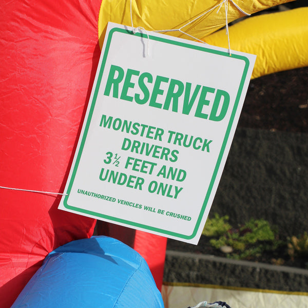 Monster truck birthday party printable decor parking sign