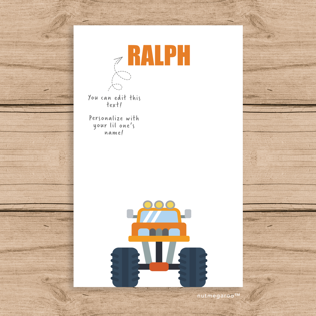 monster truck kids stationery boy