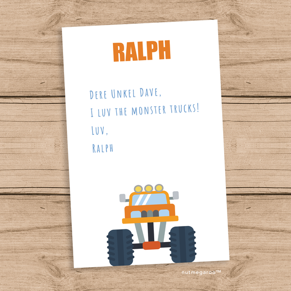 monster truck thank you notes
