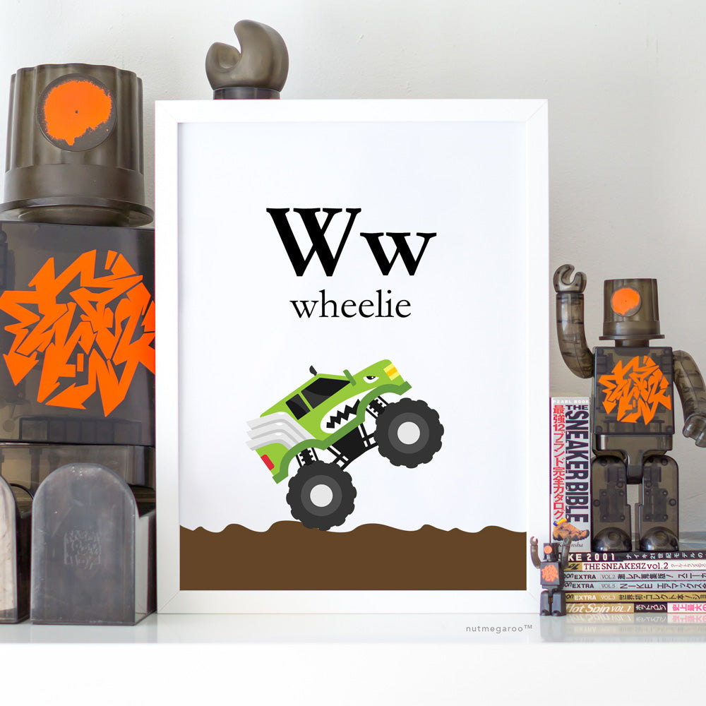 Monster Truck Wheelie Printable Artwork Art