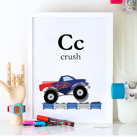 monster truck printable art, monster truck birthday party sign, monster truck artwork
