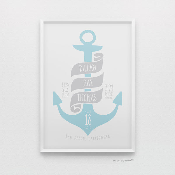 Nautical anchor birth stats nursery art print for baby boy in sky blue and gray
