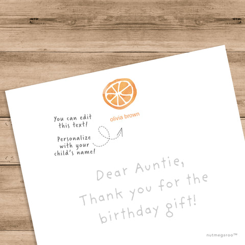 orange fruit stationery, kids stationery, printable stationery