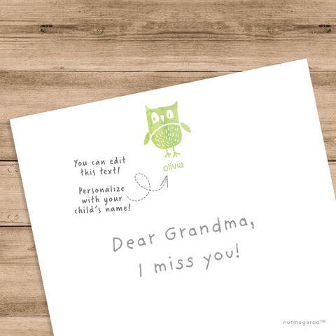 Green Owl Stationery, Kids Stationery, printable stationery, personalized stationery