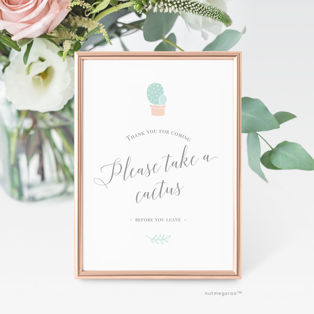 Please take a cactus favor sign - Printable Favor Sign