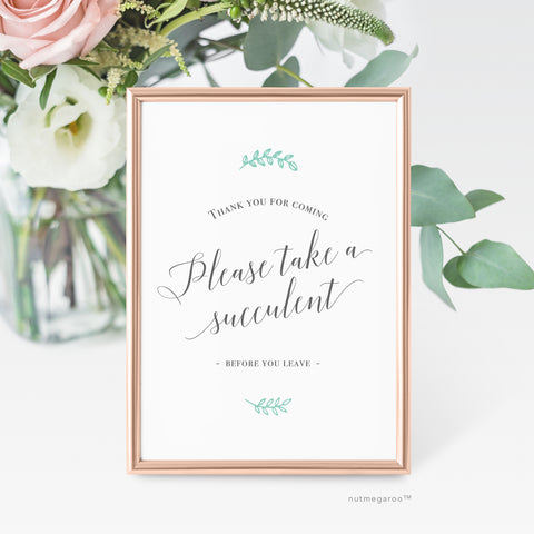 Please take a succulent favor sign, Printable Favor Sign, Succulent Favor Sign,